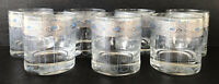 Vintage Culver Sorrento Double Old Fashioned Glass Tumblers (7) Blue Silver MCM