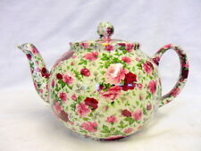 Heron cross Pottery 6 cup teapot in pink summertime chintz design.