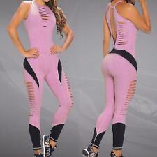 Colombian Brazilian Women's Jumpsuit Enterizo Microfiber Ripped S M Workout