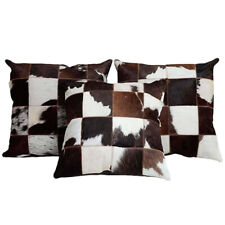 Set of 3 Cowhide Filled Throw Pillow Home Decorative Hand Stitched Cushion