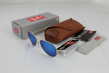 Ray-Ban Aviator Sunglasses Matte Gold Frame RB3025 112/17 Blue Mirror Lens 58mm