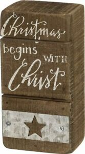 Christmas Begins with Christ Rustic Wood Small Sign Primitives By Kathy 5 inch