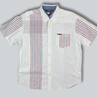 Tommy Jeans Hilfiger Short Sleeve Button Up Polo Shirt VTGWhite Stripes Size XL