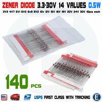 140pcs 14 Values 1/2W 0.5W 3.3-30V Regulator Zener Diode Assorted Assortment Set