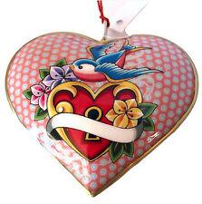 Art Ed Hardy Style Art! Sweetbirds Lock Heart Ornament-Valentine's Day