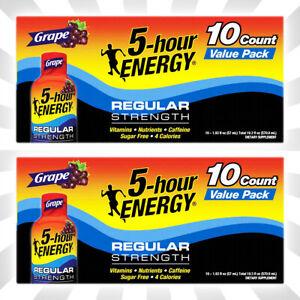 5-hour ENERGY Regular Strength Grape Flavor 20 Energy Shots Total EXP 07/22+