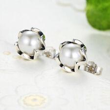 S925 Sterling Silver Cultured Elegance White Freshwater Pearl Stud Earrings