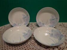 "Soup Cereal Bowls Floral Hydrangea 4 Porcelain Blue Lilac Flowers Signed 6"""