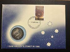 Australia PNC 1986 HALLEY's COMET Stamp Medal FDC Camberwell Postmark (Dan28C8)