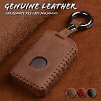 Genuine Leather Car Remote Key Fob Case Cover Keychain Holder For Volvo XC90 S90