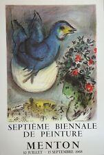 Marc CHAGALL - Colombe bleue, Affiche d'époque 1968 (Biennale de Menton)