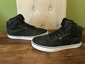 Soft Black Leather VANS Off The Wall Hi-Top Trainers - Size UK 7.5