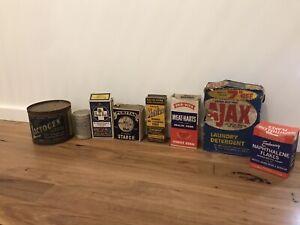 vintage kitchenalia Cardboard Boxes, Tins, Nestle Lactogen, Pro-vita, Ajax,