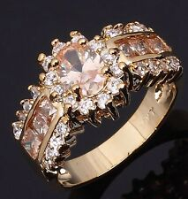 Nobby Gold Filled Champagne Color Stone Rings Size 10 Fashion Women's Jewellry
