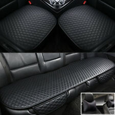 3Pcs Front+Rear Car Seat Cover Cushion PU Leather+2x Front Seat Headrest Pillows