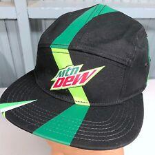 Mountain Dew Rare Five Panel Black Strapback Soda Pop Baseball Cap Hat
