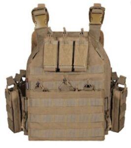 Tactical Vest Curved Level 3 Bulletproof Plates FDE