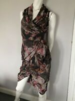 All Saints Cancity Tropic silk wrap Dress Size 8 EXC CON