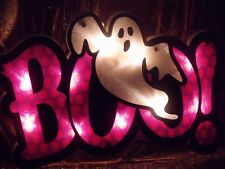 HALLOWEEN LIGHTED BOO GHOST FIGURE SIGN PURPLE WINDOW PARTY YARD DECORATION PROP