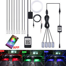 10in1 Car Ambient Light Floor Dash Lamp APP Control 64Colors DIY 10M Optic Fiber