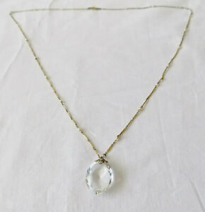 Beautiful Long Art Deco Necklace with Faux Pearls & Glass Drop