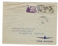 1950 Papeete French Oceania, Tahiti, Airmail to Los Angeles CA