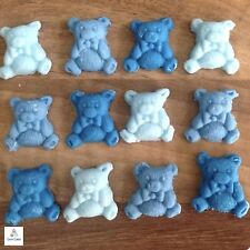 12 Blue Edible Sugar Teddy Bears Cake Cupcake Baby Shower  Decorations Toppers