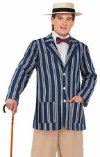 1920s Blue Boater Jacket Victorian Edwardian Period Mens Fancy Dress Costume