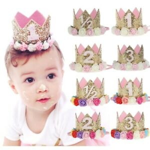 First Birthday Party Hat for Baby Girl Flower Princess Crown Decor Baby Hats Cap