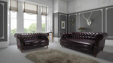 New Luxury Bonded Leather Belgravia Chesterfield Sofa - Brown - 3 2 1 Seaters