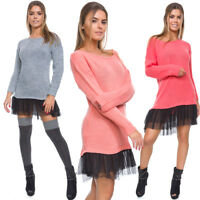 Womens Loose Mini Dress with Tulle Long Sleeve Warm Baggy Sweater One Size WA21