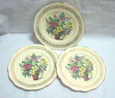 3 x  Antique Vintage Queen Anne Bone China Floral small plates FEDDEN
