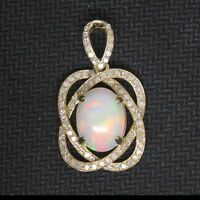 2.40CT Real 14KT Solid Yellow Gold Natural Opal EGL Certified Diamond Pendant