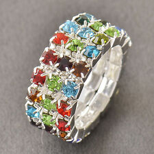 3-Row Multi Color Crystal 925 Sterling Silver Womens Ring Size 7