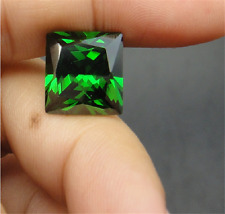 DAZZLING 5.53CT GREEN SAPPHIRE 10MM  RIGHT-ANGLE SQUARE CUT VVS LOOSE GEM