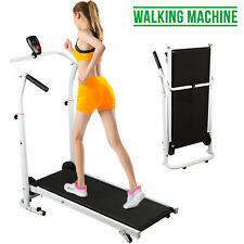 Folding Manual Treadmill Walking Machine Cardio Fitness Running Exercise Incline