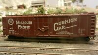 Athearn HO BB 50' Plug Dr Boxcar,  Missouri Pacific, Weathered, Upgraded , Exc