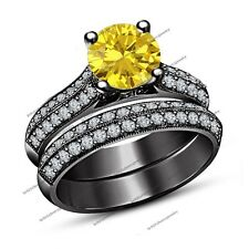 2.00 Ct Yellow Sapphire Black Gold Finish 925 Silver Engagement Bridal Ring Sets