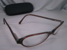 PERRY ELLIS Rx Eyeglasses Plastic Oval Frames Full Rim Translucent Brown Green