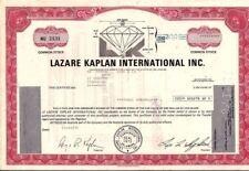 Stock Certificate Lazare Kaplan International 200 shares state of Delaware 1970s