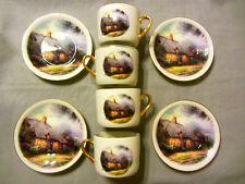 Thomas Kinkade Moonlight Cottage ~ Complete Cup & Saucer Set ~ Gold Gild Trim