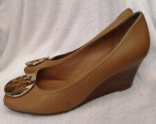 Tory Burch Women's Tan Leather Peep Toe Wedge Pump Shoes US 6.5 UK 4 - Good Used