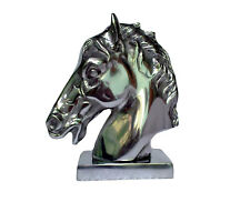Aluminium Horse Head on Base Desk Figurine Sculpture Statue au-