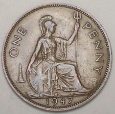 1947 Uk Great Britain British One 1 Penny George Vi Coin Vf+