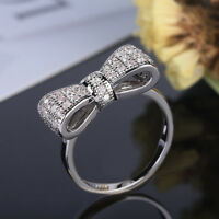 Women Fashion Silver Plated White Sapphire Bow Ring Wedding Jewelry Size 5-10 u