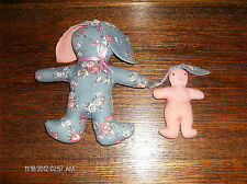 Stuffed Rabbit & Baby Bunny Blue Floral & Pink Cloth Easter Decor Toy