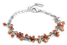 NWT PILGRIM Danish Design Orange Crystal Beaded Silver-Tone Adjustable Bracelet