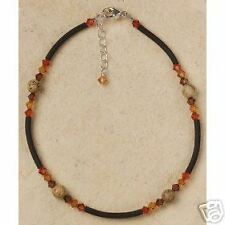 Beaded Anklet - Swarovski Crystal and Picture Jasper