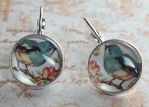 Bird earrings glass dome leverback earrings 16 mm gift for her
