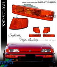 DEPO JDM STYLE AMBER LEN SIGNAL BUMPER+CORNER LIGHT LAMPS K2 1990-1991 HONDA CRX